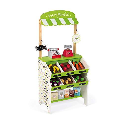 """Janod J06574 """"Green Market"""" Holz-Lebensmittelladen für Kinder, 32-teiliges Zubehör,..."""