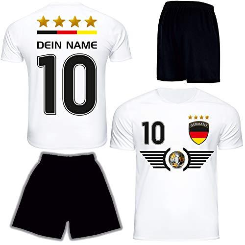 DE FANSHOP Deutschland Trikot mit Hose & GRATIS Wunschname + Nummer EM WM Weiss #D6 2021 2022 - Geschenk...