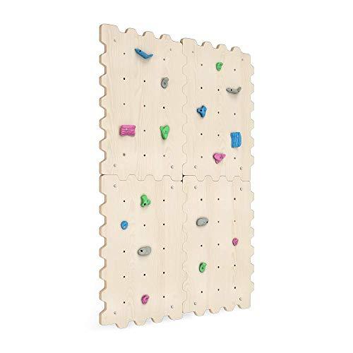 Kletterwand Indoor für Kinder mit Griffe | Nachhaltig Kinder Kletterwand aus natürlichem Holz |...