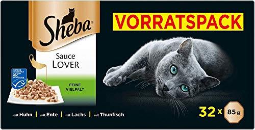 Sheba Sauce Lover – Feine Häppchen in Sauce für ausgewachsene Katzen – Alleinfuttermittel in der...