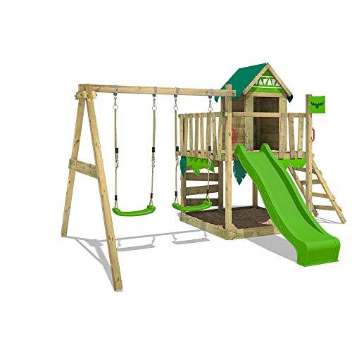 FATMOOSE Spielturm Klettergerüst JazzyJungle mit Schaukel & apfelgrüner Rutsche, Spielhaus mit...
