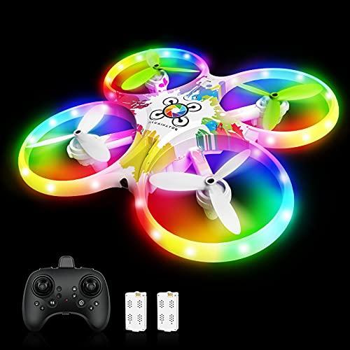 Drohne für Kinder Bunte LED-Lichter Leuchten Quadrocopter mit 5 Intelligente Sensor Dual Akku 18 Minuten...