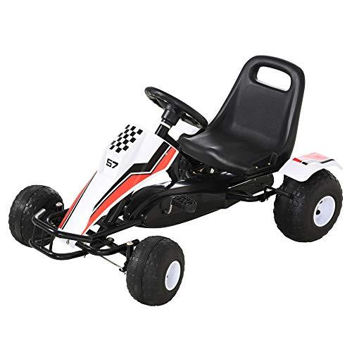 HOMCOM Go Kart Kinderfahrzeug Tretauto mit Pedal Bremsen Sitz Verstellbar Kinderspielzeug für 3-8 Jahre...