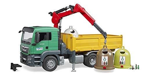 Bruder 03753 - MAN TGS Kran LKW mit 3 Altglascontainern und Flaschen