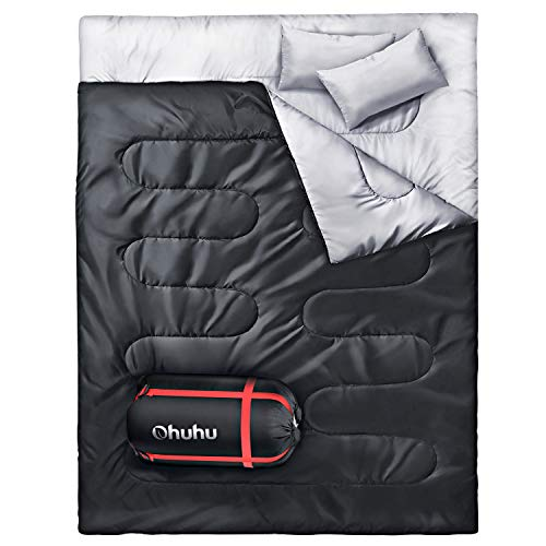 Doppelschlafsack, Ohuhu Schlafsack 220 x 150cm Erwachsene Deckenschlafsack mit 2 Gratis Kissen und eine...