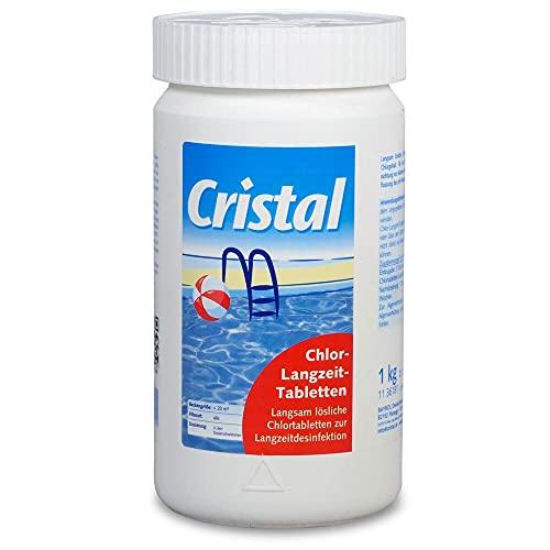 Cristal Chlortabletten 200 1Kg - Chlor-Langzeittabletten für Pools ab 20.000 l
