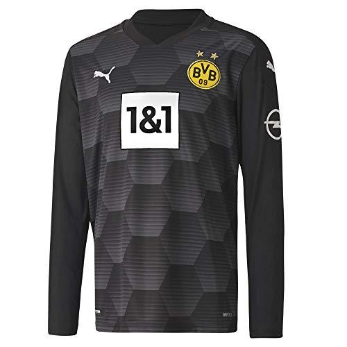 PUMA BVB GK Shirt Replica LS Jr w.Sponsor New Torwarttrikot, Black, 152, Puma Black