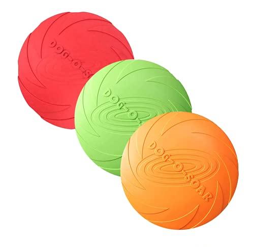 3 Stück Hund Frisbees, Haustier fliegenden Untertasse, Gummi fliegende Scheibe, interaktive...
