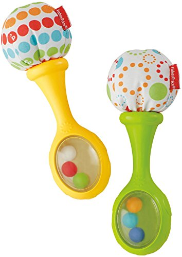 Mattel BLT33 - Fisher-Price Babys Rumba-Rasseln mit Stoffenden