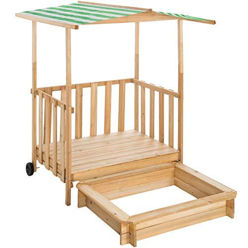 TecTake 800792 Sandkasten mit Dach, Spielhaus mit Sandkasten aus Holz, Sandkiste mit Veranda und...
