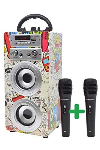 DYNASONIC Bluetooth Lautsprecher für Karaoke Kinder Anlage MP3 Player Boxen Akku-Lautsprecherbox 025...