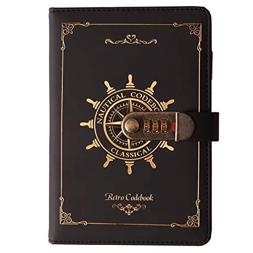 Lirener Retro PU Leder Notizbuch Tagebuch mit Schloss(Nautisches Muster), A5 Geheimnis Password...