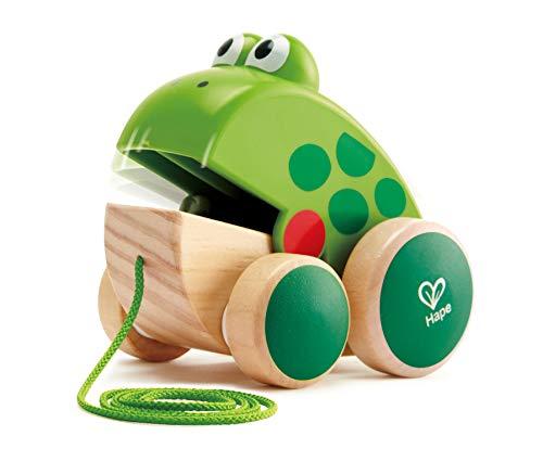 Hape Nachziehfrosch Fridolin von Hape | Holzfrosch Fliegen fressendes Nachzieh-Spielzeug für...