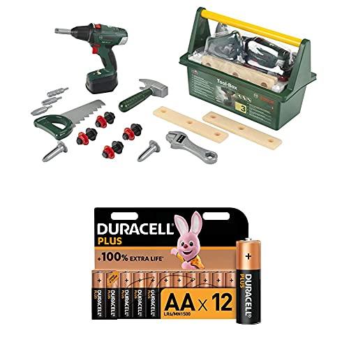 Theo Klein 8520 Bosch Werkzeug-Box I Mit Hammer, Säge, Rollgabelschlüssel und vielem mehr I inkl...