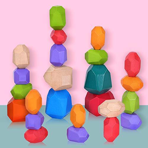 Balanciersteine Holz Stapeln Spielzeug, 24 Stück Montessori Holzspielzeug Farbiger Meditations Balancier...