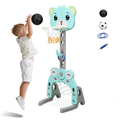 COSTWAY Kinder Basketballständer höhenverstellbar, 3 in 1 Kinder Spielplatz Basketballkorb &...
