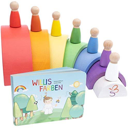 SCHMETTERLINE® Regenbogen Holz-Spielzeug für Kinder ab 3 Jahren - Montessori-Spiel mit Holzfiguren und...