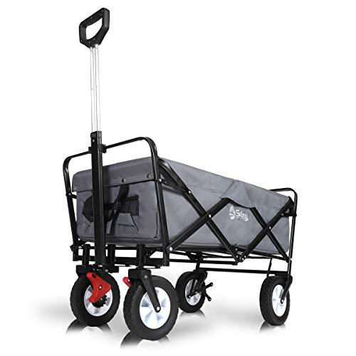 Sekey Faltbarer Bollerwagen mit Bremsen Faltwagen Handwagen Außenschubkarre Strandwagen Folding Wagon...
