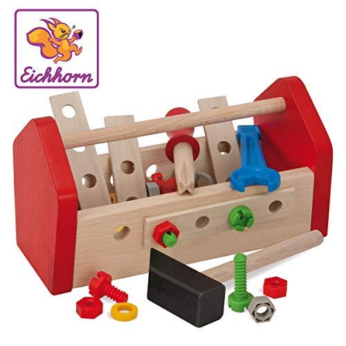 Eichhorn 100028103 - Werkzeugkasten 11x22x12cm, inkl. Werkzeug, Schrauben und Bauelementen, 30-tlg., FSC...