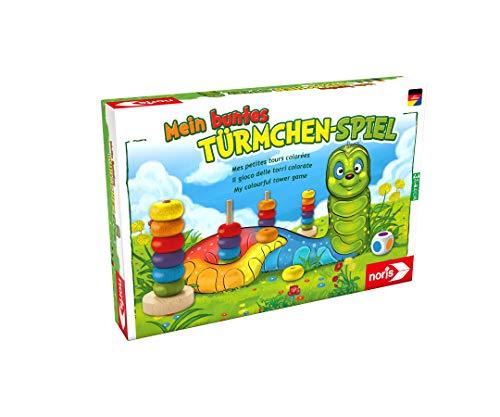 Noris 606011235 Mein buntes Türmchenspiel, Farb-Lernspiel aus hochwertigem Holz für das...