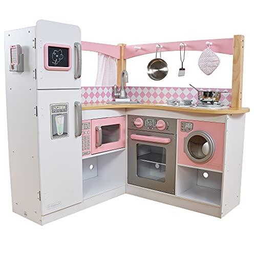 KidKraft 53185 Grand Gourmet Eck-Spielküche aus Holz mit Spielzubehör – Rosa und Weiß