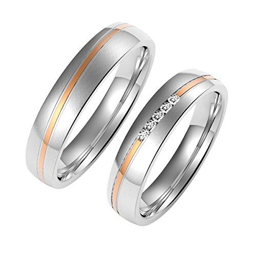 Amtier Paar Ringe Eheringe Edelstahlringe für Damen Herren mit Geschenkbox, 64 (20.4)