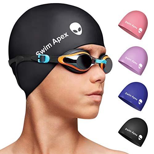 Swim Apex Silikon-Badekappe für Kinder, für Mädchen, Jungen, Teenager (Alter 2–12 Jahre), langlebige...