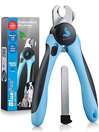 Bluepet® Krallenschere mit Schutz für Hunde & Katzen - Krallenschneider Krallenzange für Zuhause -...