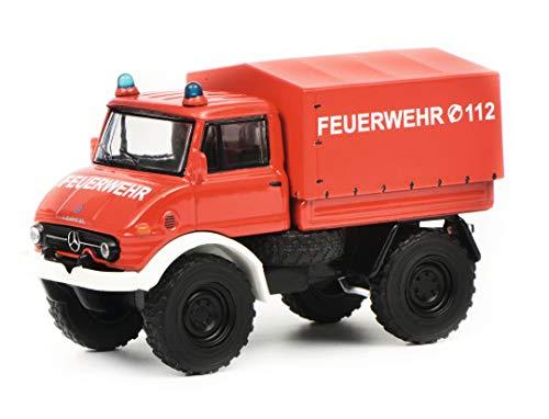Schuco 452017300 Mercedes-Benz 452017300-Mercedes Unimog U406 Feuerwehr 1:64, Modellauto, Modellfahrzeug,...