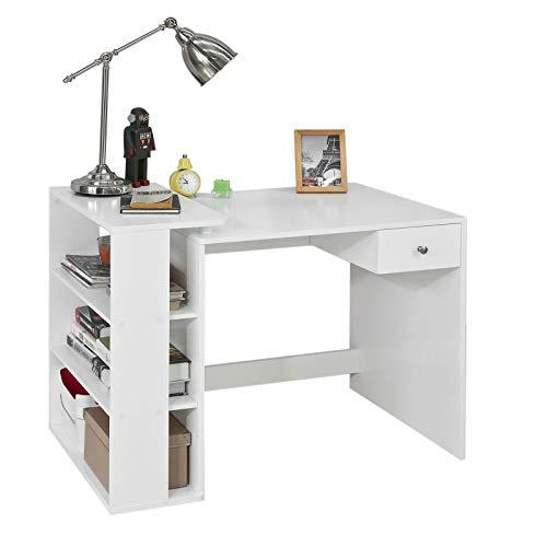 SoBuy® FWT35-W Schreibtisch mit 1 Schublade und 3 Ablagen Tisch Arbeitstisch Computertisch Bürotisch,...
