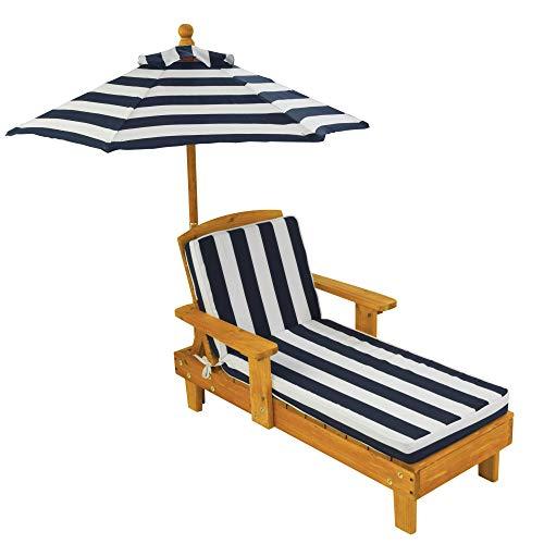 KidKraft Liegestuhl Holzliege mit Sonnenschirm-Gartenmöbel für Kinder, Sanmu Holz, Honigfarben,...