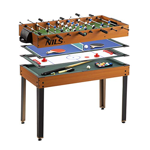 NILS Multifunktionstisch 4in1 Spieltisch Tischfussball Hockey Tischtennis Billard Tischspiel Multigame...