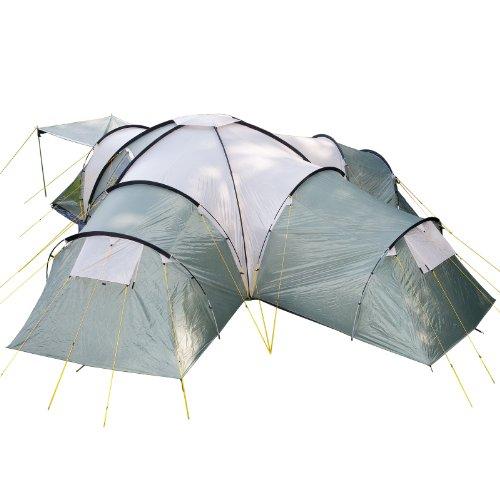 skandika Kuppelzelt Korsika für 10 Personen   Campingzelt mit 3 Schlafkabinen, wasserdicht, 2,1 m...