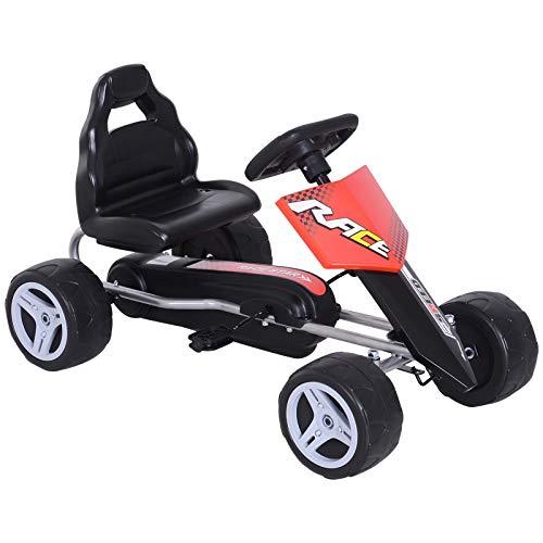 HOMCOM Kinder Go-Kart Tretauto Kinderfahrzeug mit Pedalen 4 Räder Metall + Kunststoff Rot 3 Jahre