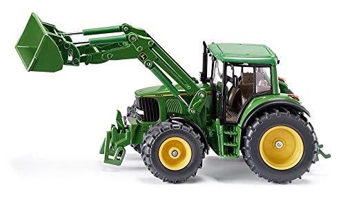 siku 3652, John Deere Traktor mit Frontlader, 1:32, Metall/Kunststoff, Grün, Beweglicher Frontlader,...