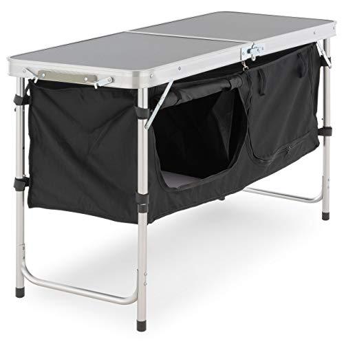Nexos Campingschrank faltbar klappbar Campingtisch Zwei große Aufbewahrungsboxen Zelten Campen Grillen...