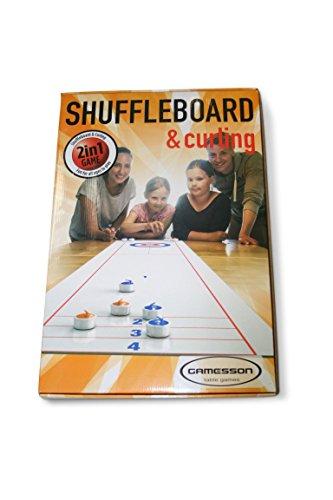 Gamesson Unisex Shuffle Board und Curling Spiel, Weiß