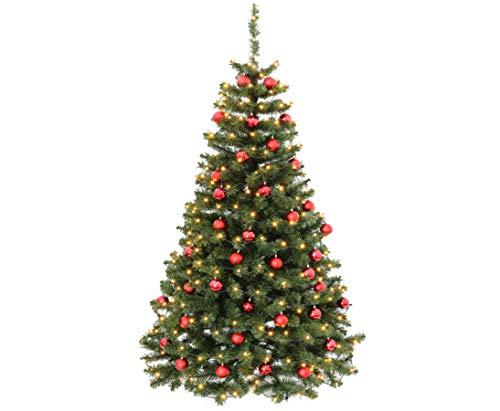 kunstpflanzen-discount.com Künstliche Weihnachtsbäume mit Christbaumkugeln rot farbig, Höhe 210cm mit...