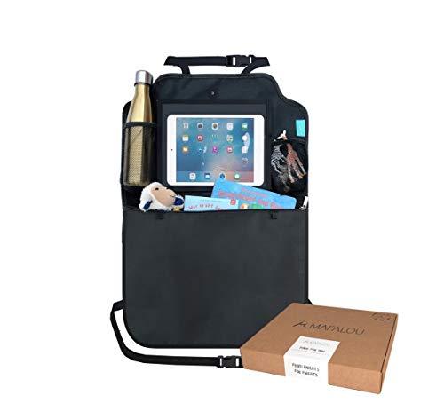 Rückenlehnenschutz Auto (1 Stück) Premium Rücksitz Organizer + Taschen & Tablet iPad Fach | Sitzschutz...