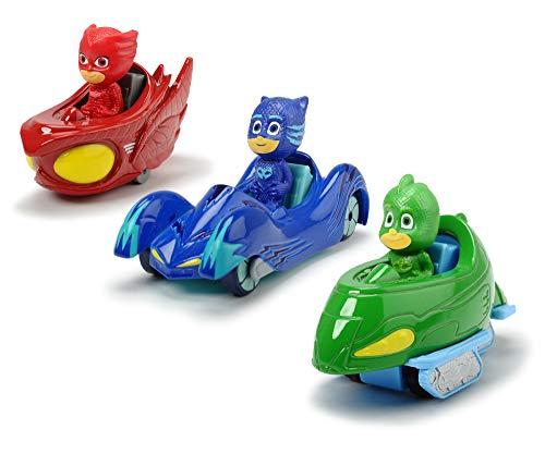 Dickie Toys PJ Masks 3-Pack Set Cars, Auto, Geschenkset bestehend aus: Cat-Car, Owl-Glider und...