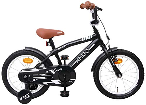 Amigo BMX Fun - Kinderfahrrad für Jungen - 16 Zoll - mit Handbremse, Rücktritt, Lenkerpolster und...
