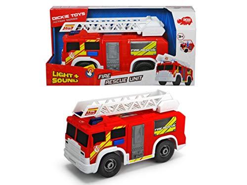 Dickie Toys Fire Rescue Unit, Feuerwehrauto, Spielzeugauto, Feuerwehr, bewegliche und ausfahrbare Leiter,...