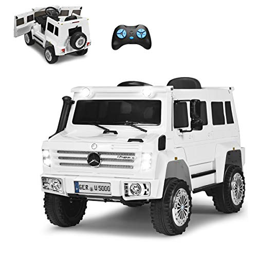 COSTWAY 12V Mercedes Benz Eletro Kinderauto mit Radiofunktion | Musik | LED Lichter | Soundeffekt | USB |...
