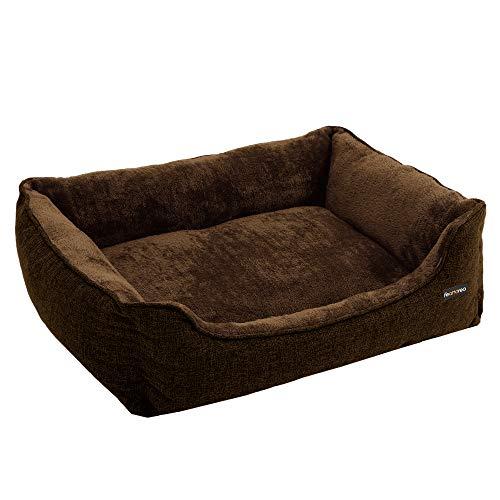 FEANDREA Waschbares Hundebett, Bezug abnehmbar und maschinenwaschbar, Kuscheliges Hundekissen, Braun 90 x...