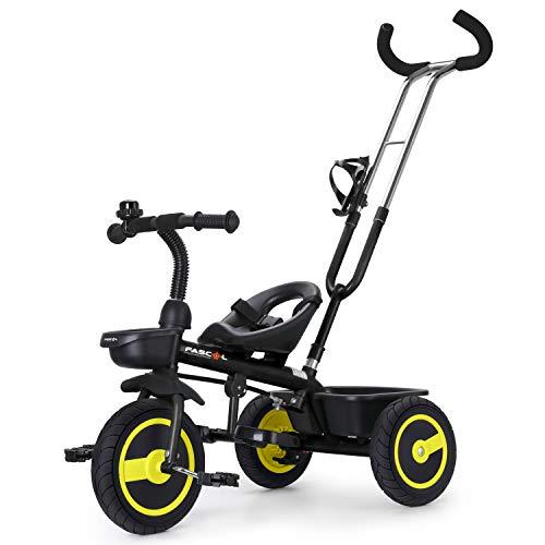 Fascol Kinder Dreirad mit Lenkbarer Schubstange 2 in 1 Kinderdreirad Baby Kinderwagen mit Flüsterleise...