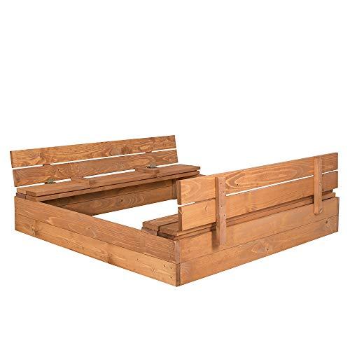 SPRINGOS Sandkasten mit Sitzbank, 120 cm x 120 cm, Abdeckung, Holz, Imprägniert, Kindersandkasten,...