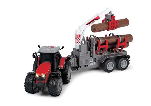 Dickie Toys Massey Ferguson Spielzeugtraktor mit Anhänger und 3 Holzstämmen, Holzgreifer, Trecker mit...