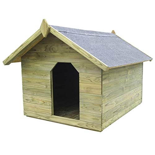 vidaXL Kiefernholz Imprägniert Hundehütte Dach Hundehaus Hunde Hütte Tierhaus