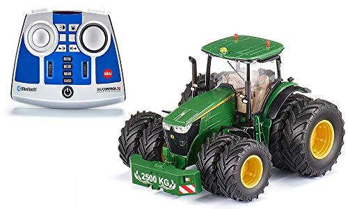 siku 6736, John Deere 7290R Traktor, Inkl. Fernsteuermodul, Grün, Metall/Kunststoff, 1:32,...