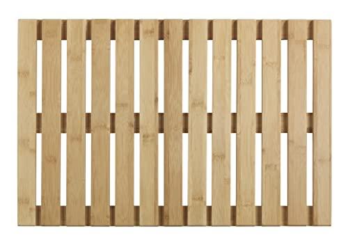 WENKO Baderost Indoor & Outdoor Bambus, 40 x 60 cm - Badematte, Bodenrost für Dusche, Bad, Pool, Sauna...